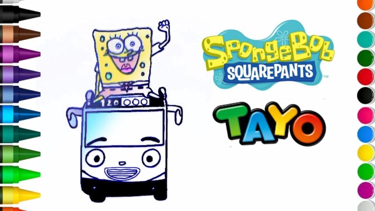 Menggambar Spongebob Naik Mobil Tayo Drawing For Kids Spongebob Square Spongebob