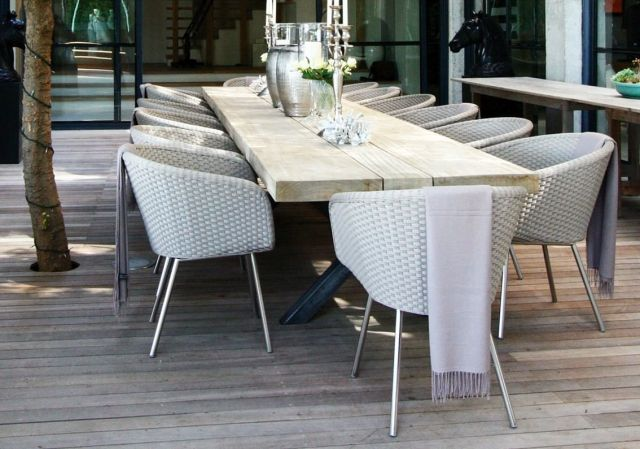 Polyrattan Gartenmobel Terrasse Weiss Shell Stuhl Fueradentro Outdoor Tables And Chairs Modern Outdoor Spaces Modern Dining Table