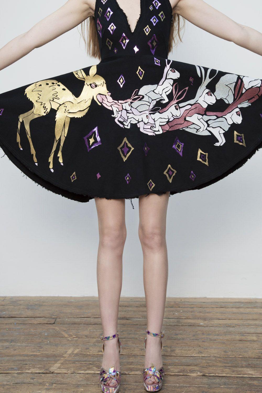 Mary Benson Frayed Denim Poor Bambi Dress Fashion Colorful