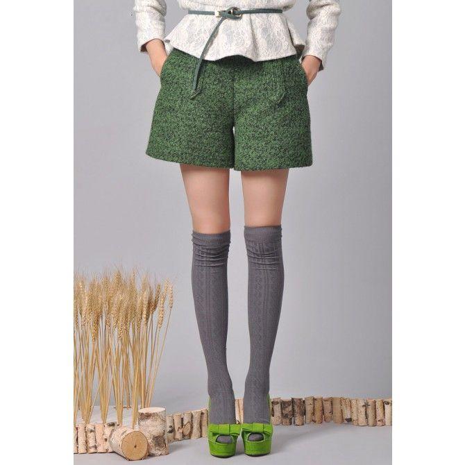 High Waist Wool Wide Leg Shorts.