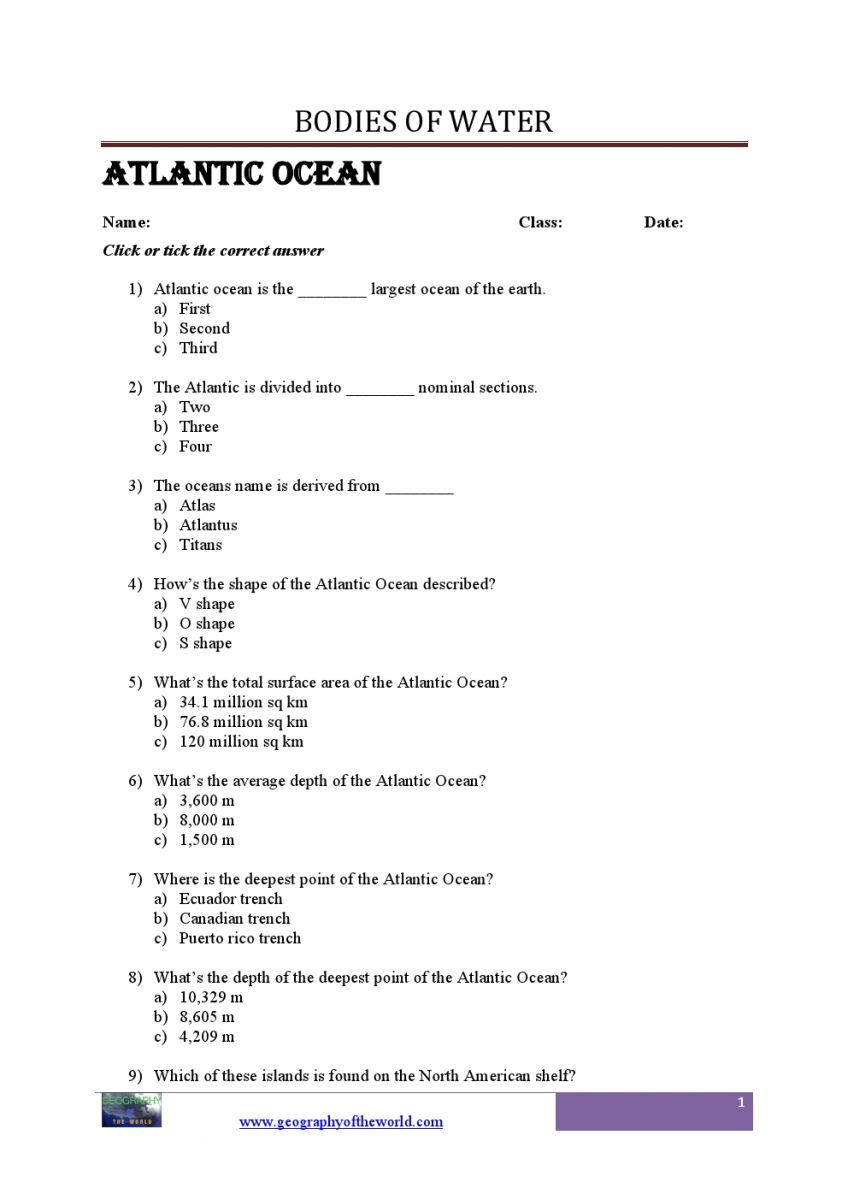 Bodies of Water Questions and Answers Geography printable Worksheets pdf   Geography  worksheets [ 1200 x 848 Pixel ]
