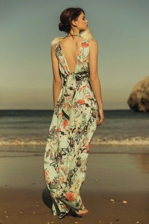 Comprar online vestido de fiesta largo estampado mariposas y flores ...