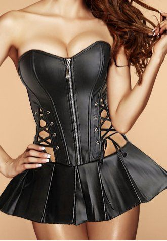 faux leather corset with front zipper closure side lace