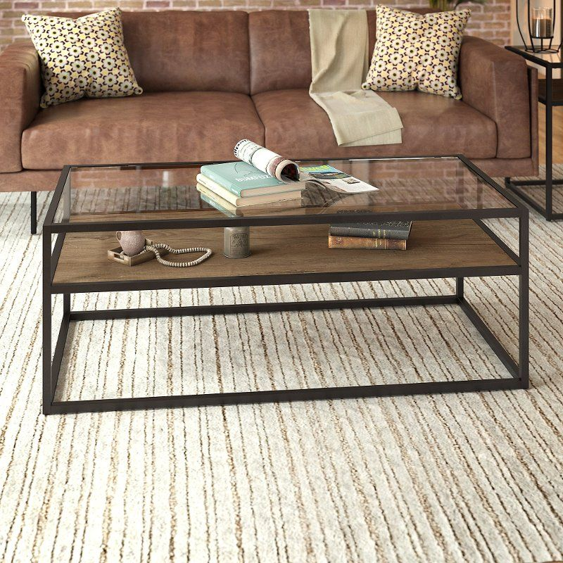 Rustic Brown Glass Top Coffee Table Anthropology Glass Top