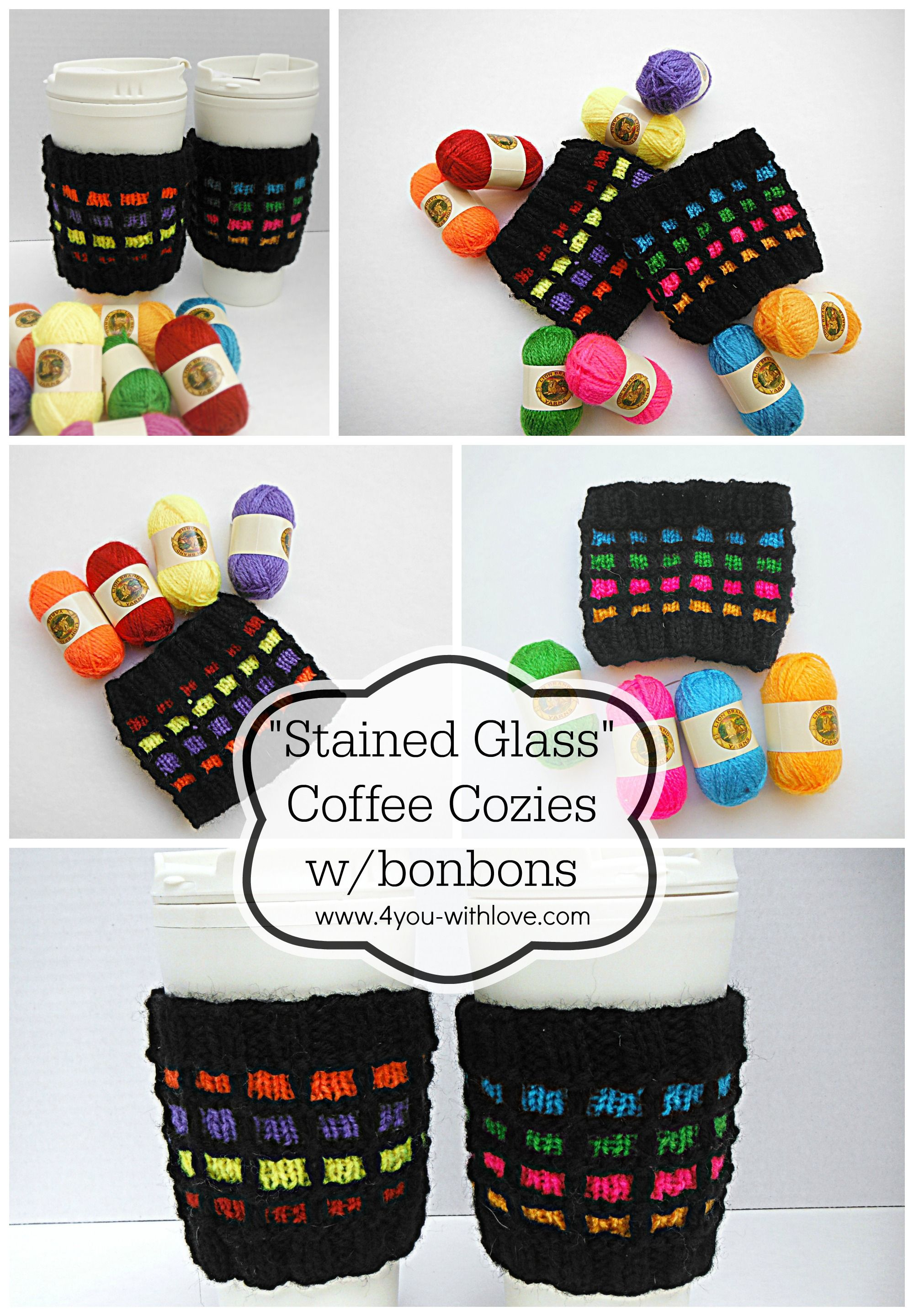 Stained Glass Knitted Coffee Cozies Collage - Free Knitting Pattern ...