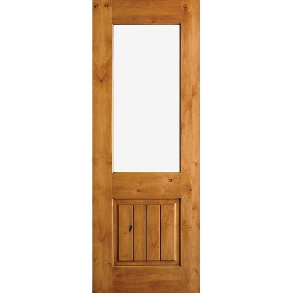 Krosswood Doors 36 In X 96 In Rustic Half Lite Clear Low E Ig