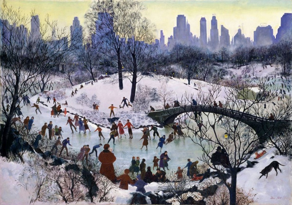 """""""Skating in Central Park"""" by Agnes Tait (American), oil on"""