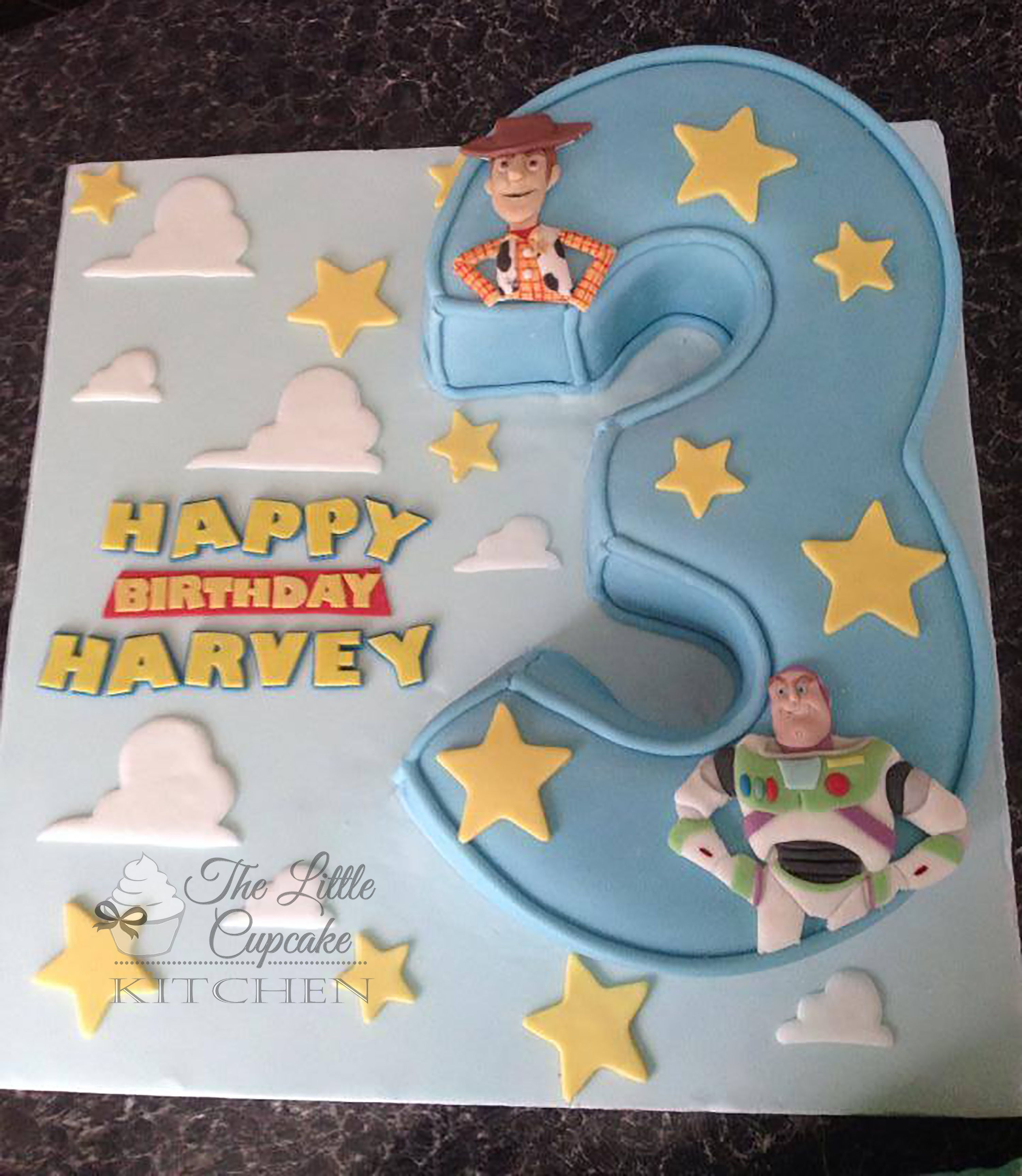 Terrific Buzz Lightyear And Woody Toystory Carved Number 3 Cake With Personalised Birthday Cards Veneteletsinfo
