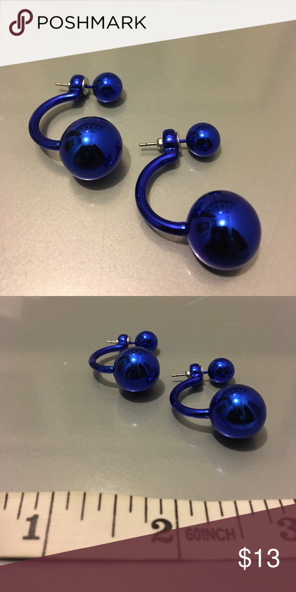 Gothic Skater Punk Metallic Blue Earring 1 Pair Of Earrings For Men Or Woman Material Made Alloy Brand New Never Worn Sealed In Plastic