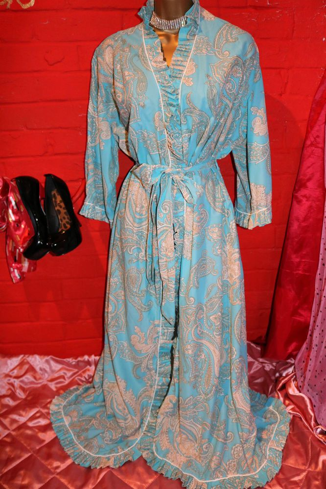Vintage Howards Lingerie Aqua Frilly Hemmed Dressing Gown Robe Wrap ...