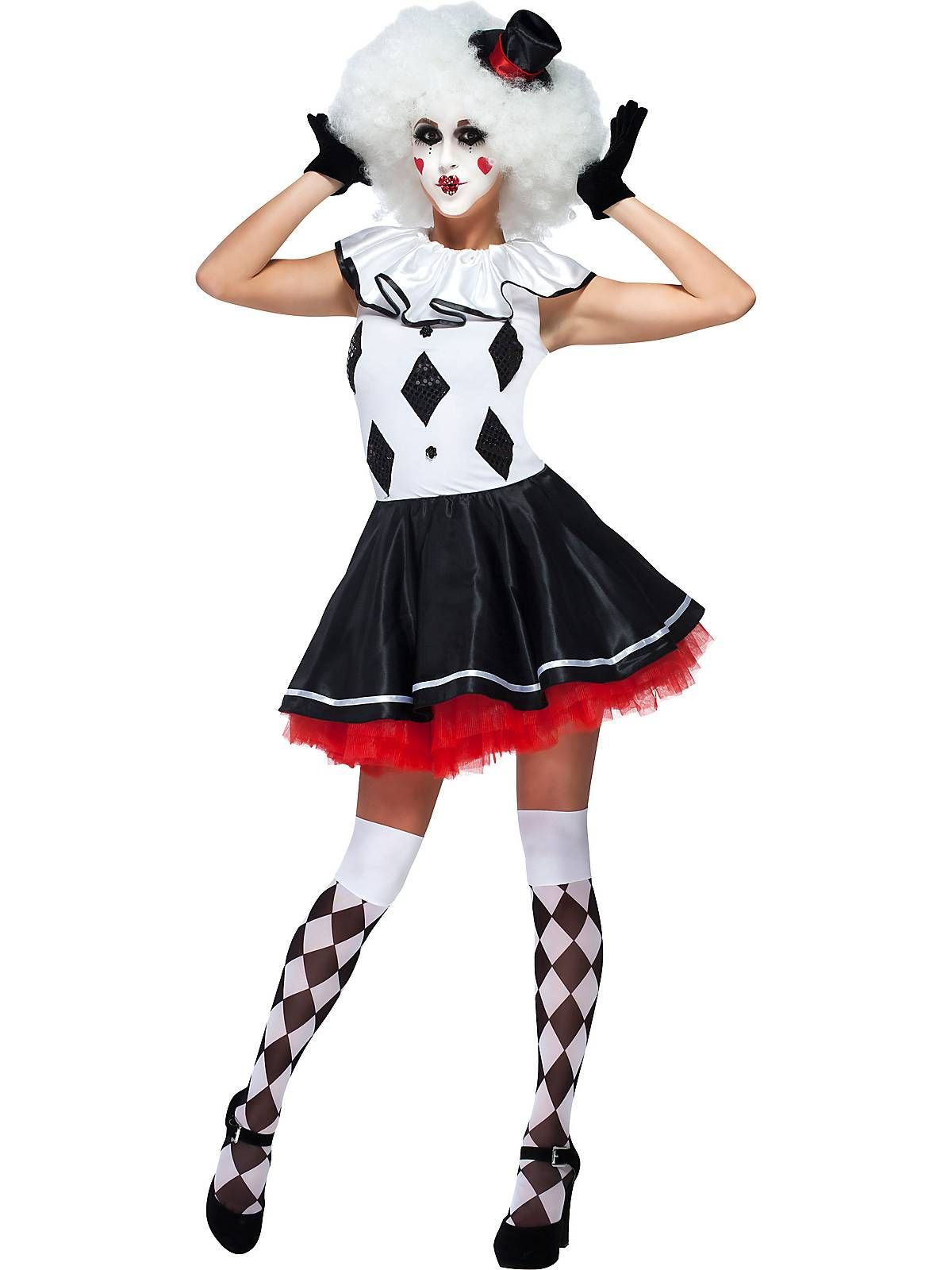 718f79fb2797 Womens Black and White Party Jester Harlequin Clown Costume