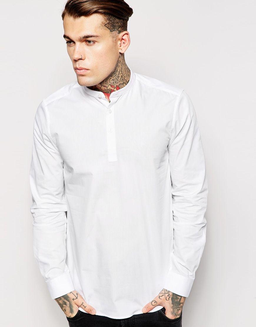 ASOS Regular Fit Shirt With 3/4 Length Placket And Grandad Collar at asos .com