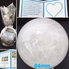 Stunning 84mm XL Ice White Calcite Healing Crystal Sphere Intuition Calming