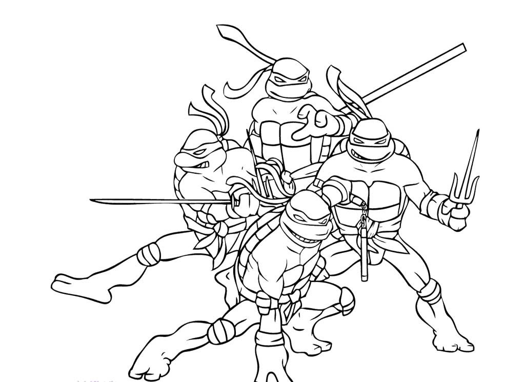 Four Ninja Turtle Combat Ready Coloring Page  Ninja Turtle