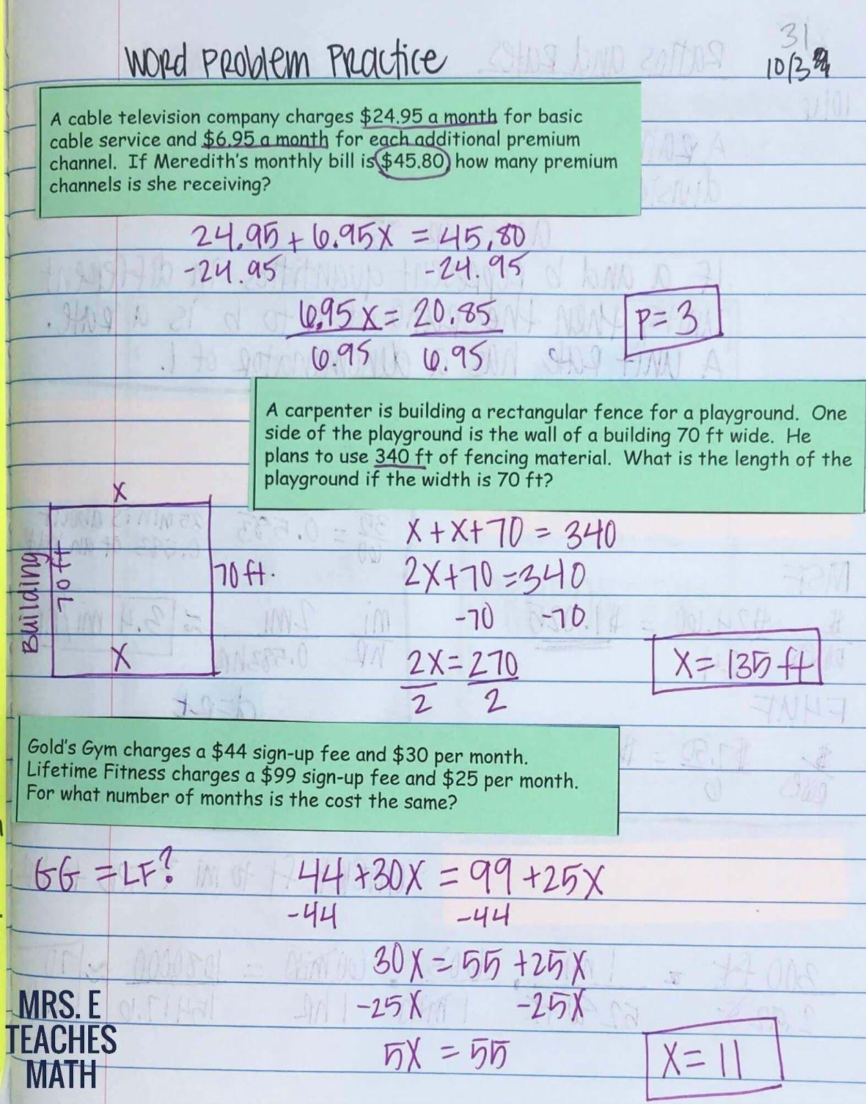 Solving Equations INB Pages | 6-8 INB | Pinterest | Solving ...