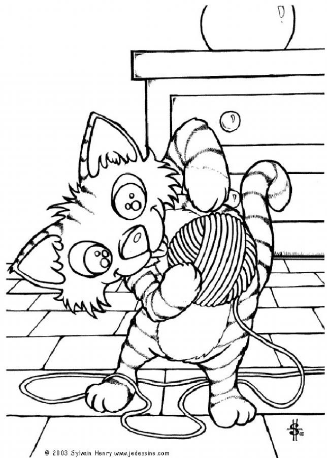 Cat and its ball of wool coloring page. Enjoy the