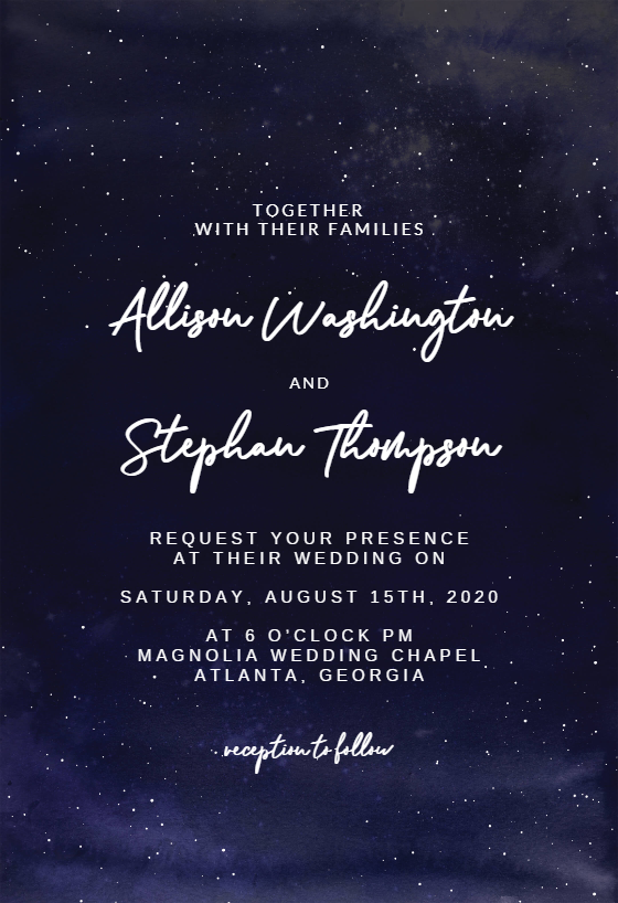 Starry Night Wedding Invitation Template Free Greetings Island Starry Night Wedding Wedding Invitation Templates Wedding Night