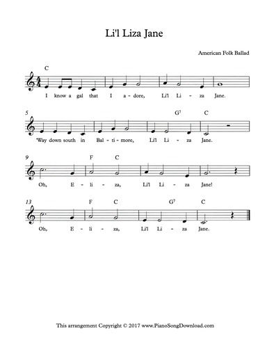Lil Liza Jane Lead Sheet With Melody Chords And Lyrics Music