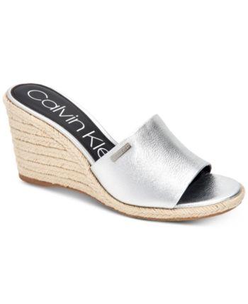 2dc7843efb Calvin Klein Women's Britta Wedge Sandals, Created For Macy's - Silver 10M