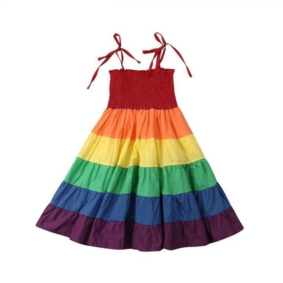 UK Summer Toddler Baby Girls Clothes Strap Princess Party Dress Rainbow Sundress