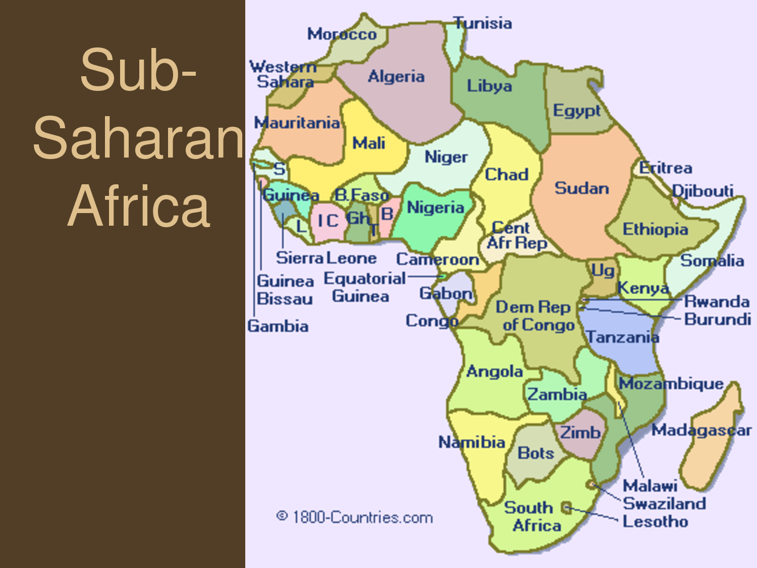 Map of sub Saharan Africa Geography | grade 6 poverty | Africa