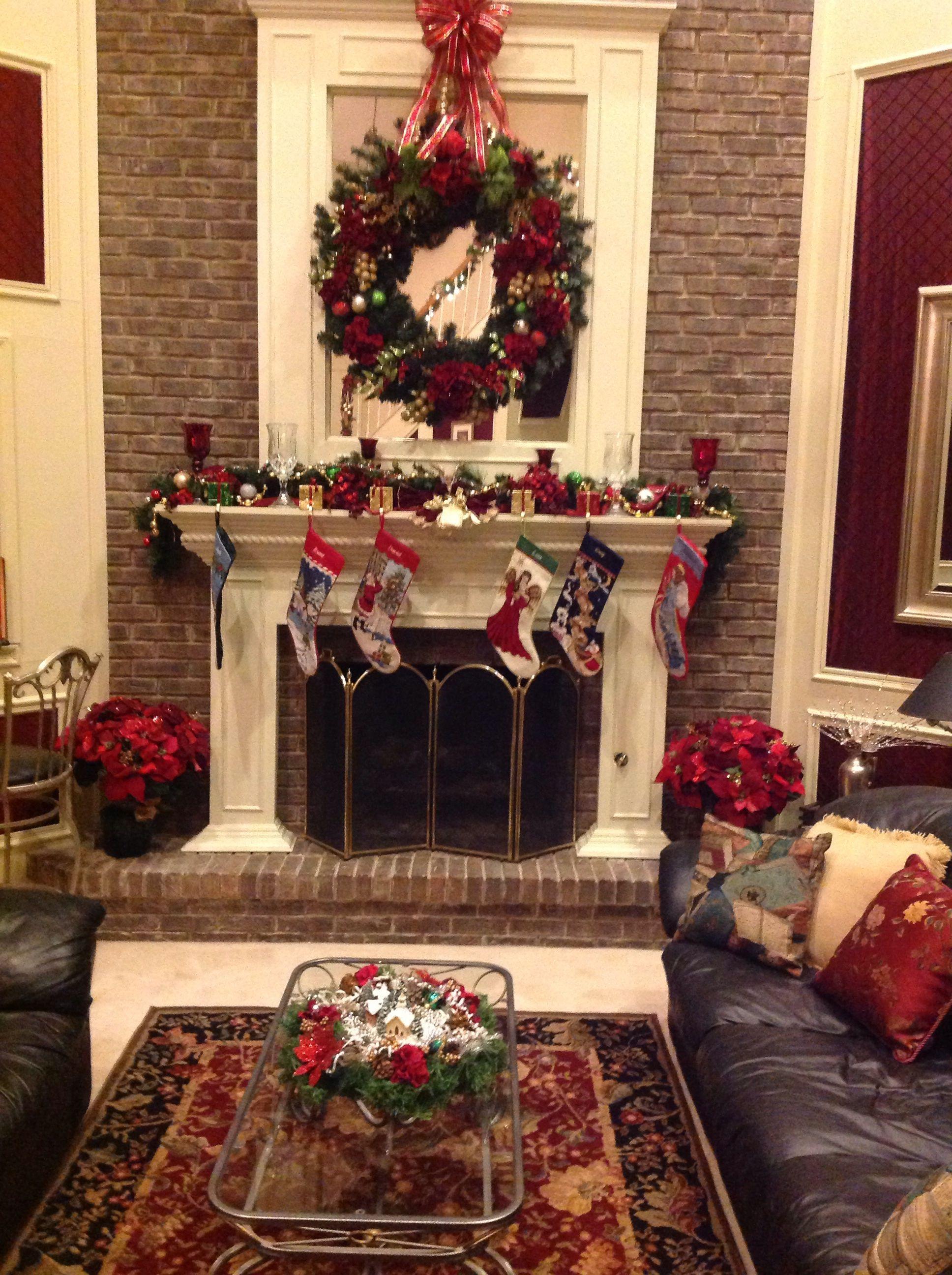 Living room fireplace   Christmas home, Living room with ...