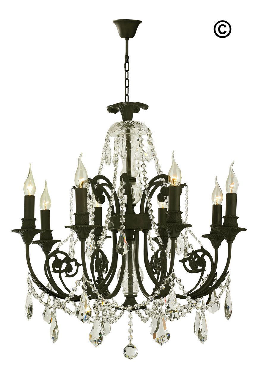 French Provincial Iron Chandelier 8 Arm Wrought Iron Finish