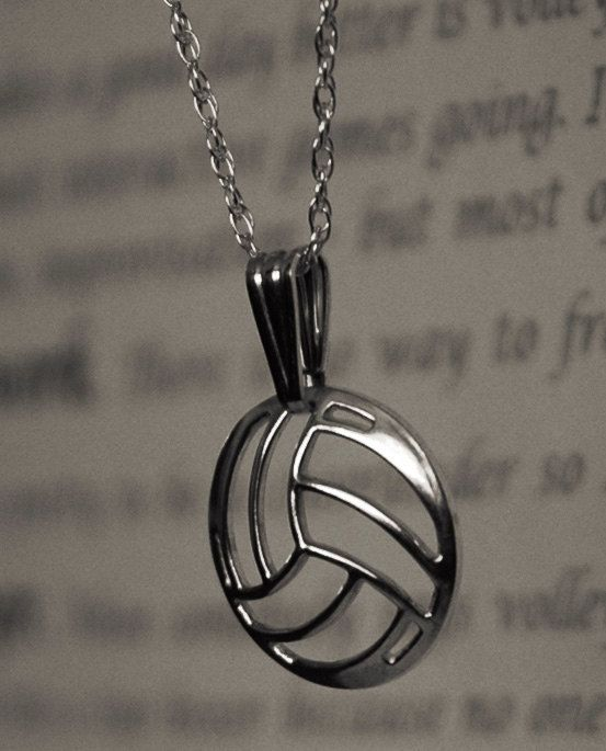 Silver Volleyball Necklace Handcrafted In The Usa Volleyball Jewelry Volleyball Necklace Volleyball