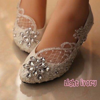 White Ivory Lace Gems Bridal Wedding Heels Flat Bridesmaid Pump Shoes Size 5 12