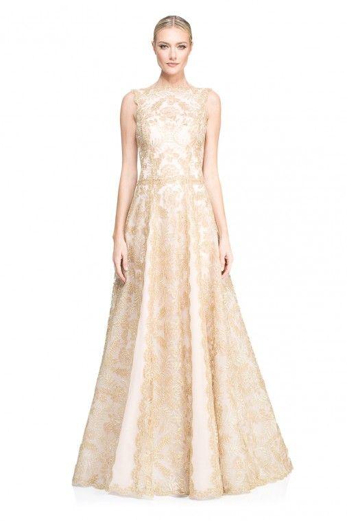 Tadashi Shoji Sambia Gown Gold Lace Dress Metallic Ballgown
