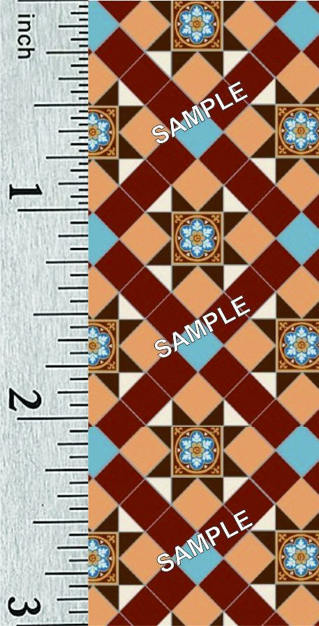 Quarter Scale and 1:44 Scale Miniature Victorian Dollhouse Tile Flooring (300A) #victoriandollhouse