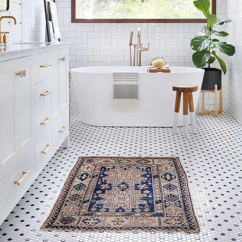Black And White 1x1 Hex Mosaic Simply Brilliant By Merola Tile 2019 Style Trend Black And Whit White Mosaic Floor Bathroom Farmhouse Style Black Bathroom