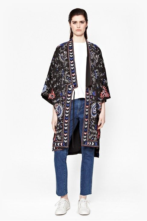 Micheala Stitch Embroided Kimono