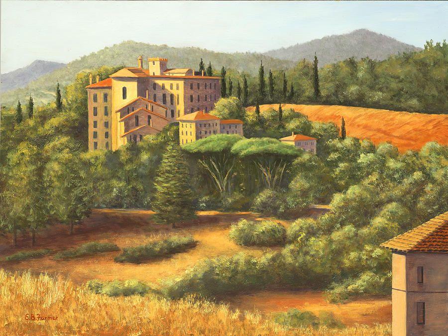 Tuscany Manor Italy by Elaine Farmer ~ oil on board