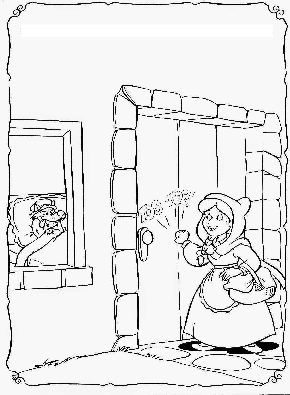 Kırmızı Başlıklı Kız Hikayesi Boyama Sayfaları Okul öncesi