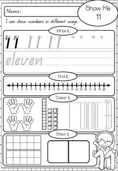 SHOW ME THE NUMBERS - NUMBER WORKSHEETS TO 20 - TeachersPayTeachers.com