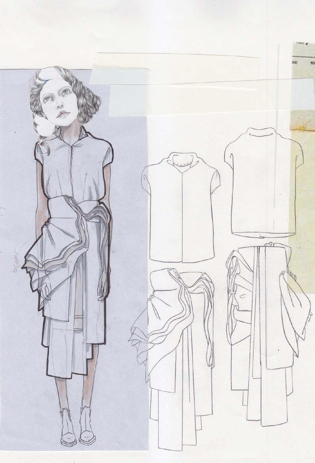 Fashion Sketchbook - draped skirt designs, fashion drawings, fashion portfolio // Valeska Collado