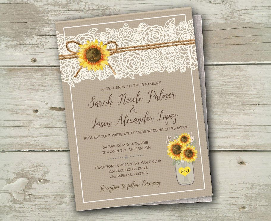 Sunflower Wedding Invitations Invites Rustic Country Lace