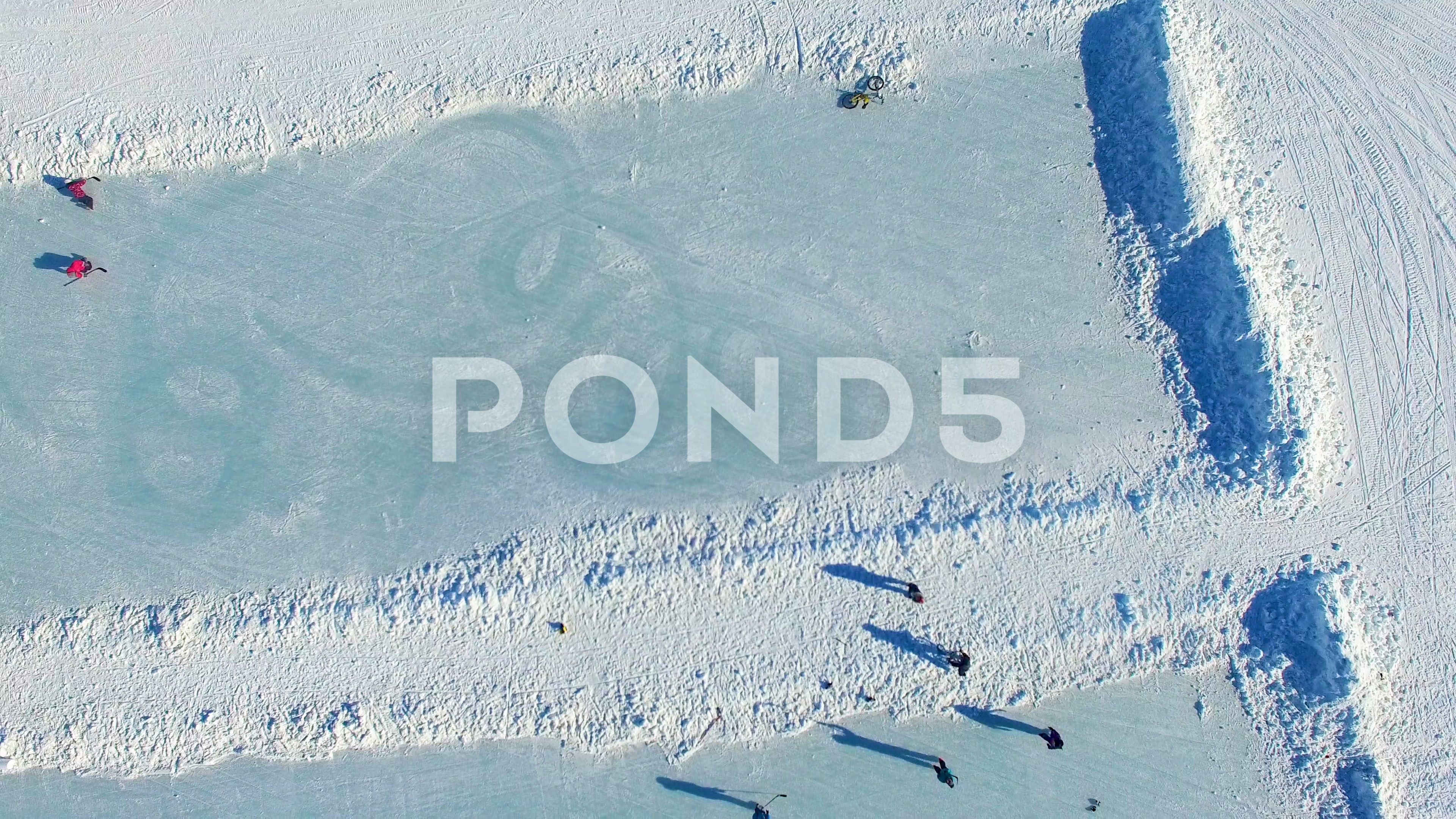 Birds Eye View Flying Over People Playing Hockey On Outdoor Rinks Alternative Stock Footage Flying People Playing Birds Birds Eye Birds Eye View Outdoor Rink