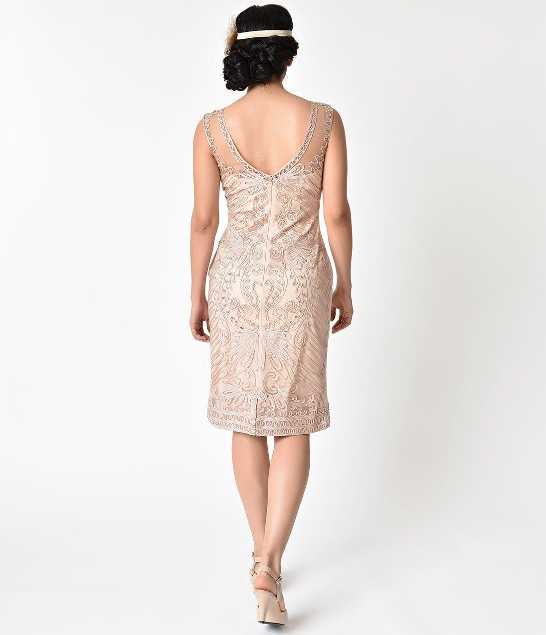 b8b2340d19b Plus Size Champagne Embroidered   Beaded V-Neck Mesh Cocktail Dress –  Unique Vintage
