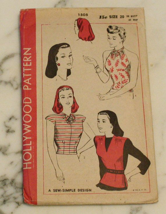 RARE Hollywood 1505 Vintage 1940s Turban Snood Dickey Blouse Sewing ...