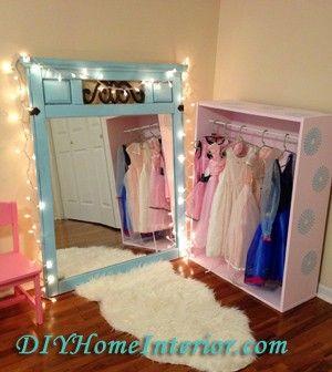 Diy Little Girl S Princess Dress Up Closet Dress Up Closet Princess Bedrooms Dress Up Storage