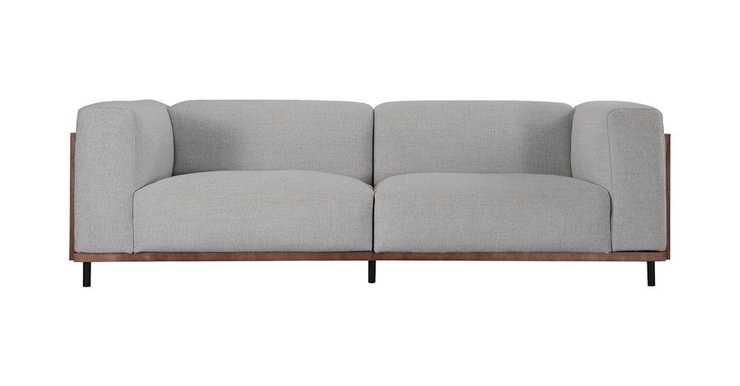 Edvin 3 Seater Fabric Mid Century Modern Sofa Grey