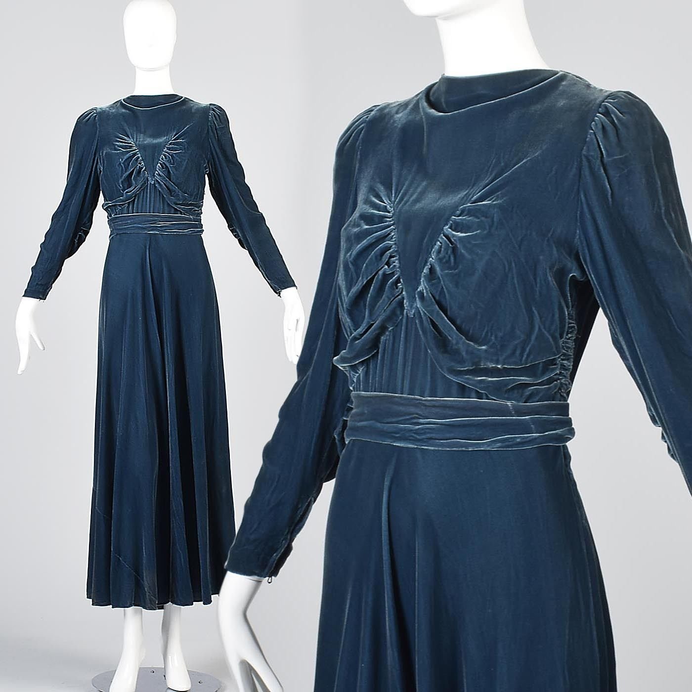 Vintage 1930s 30s Formal Gown Evening Dress Long Sleeve Maxi Blue Velvet Autumn Ebay Long Sleeve Evening Dresses Blue Velvet Gown Velvet Gown [ 1400 x 1400 Pixel ]