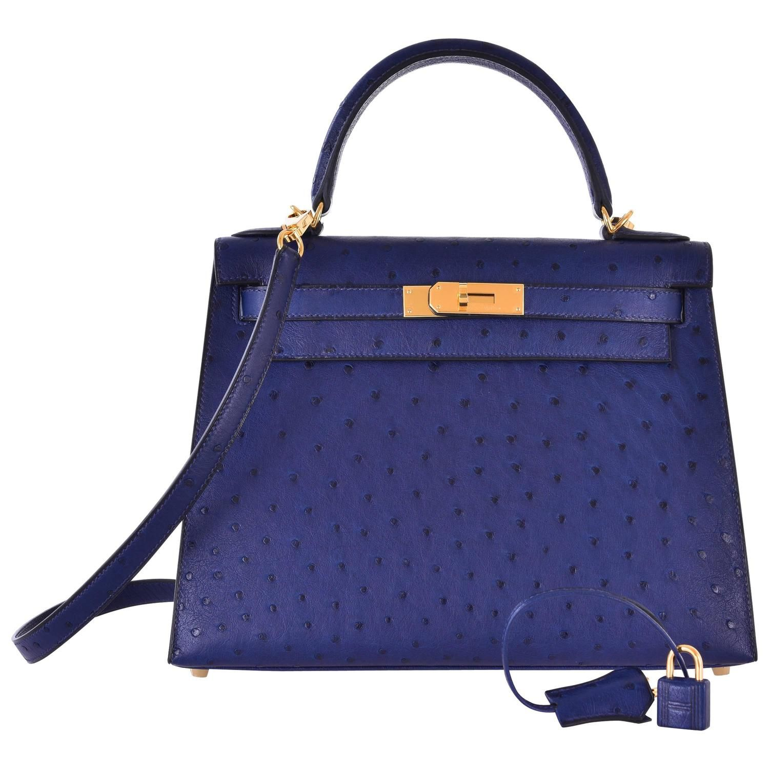 7666e4cf452 86498 efb16 uk hermes ostrich kelly 28cm blue iris gold hardware janefinds  from a collection of rare vintage ...
