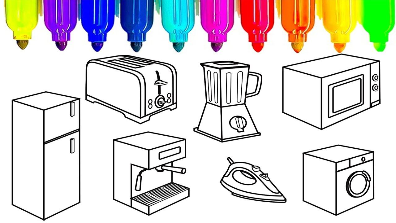 Learn colors for kids with kitchen appliances coloring