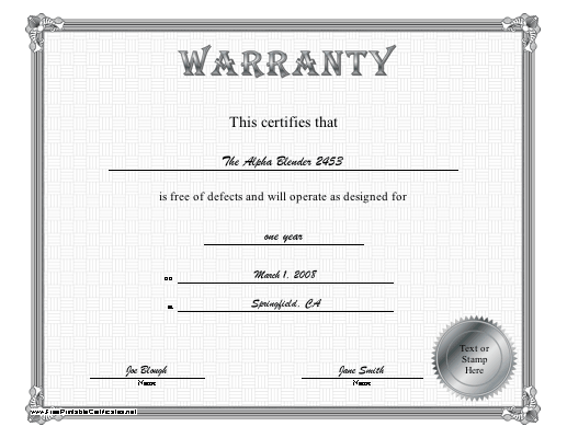 A Silver Bordered Certificate Of Warranty Certifying That Something Is Free Defects