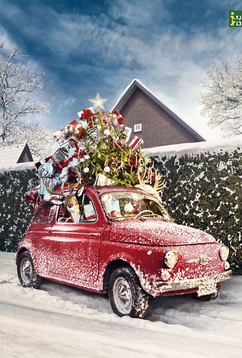 red car decorated for christmas complete with reindeer in the passenger seat christmas car. Black Bedroom Furniture Sets. Home Design Ideas