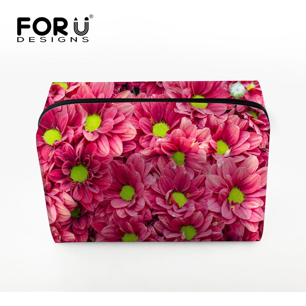 Korean Style Women Makeup Bag Pink Flower Cosmetic Case for Make Up Protable Brand Travel Organizer Toiletry Storage Wash Pouch