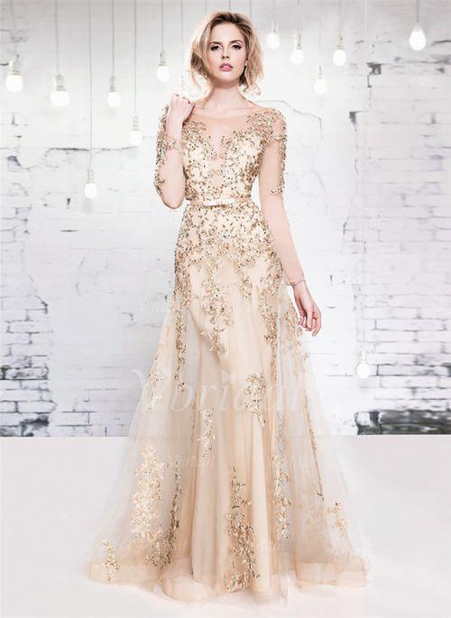 Abendkleider - $211.21 - A-Linie/Princess-Linie U-Ausschnitt Bodenlang Tüll Abendkleid mit Spitze Perlen verziert (0175055968)